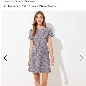 LOFT NWT textured puff sleeve dress tweed work